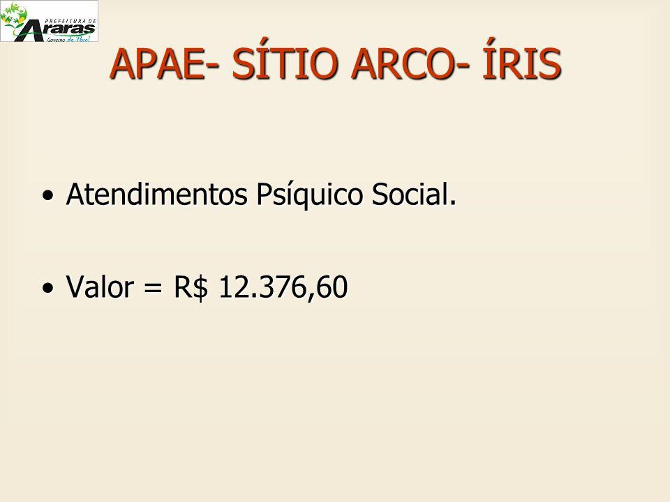 APAE- SÍTIO ARCO- ÍRIS Atendimentos Psíquico Social.Atendimentos Psíquico Social. Valor = R$ 12.376,60Valor = R$ 12.376,60