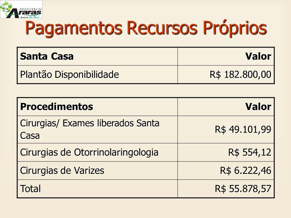Pagamentos Recursos Próprios Santa Casa Valor Plantão Disponibilidade R$ 182.800,00 R$ 182.800,00 ProcedimentosValor Cirurgias/ Exames liberados Santa