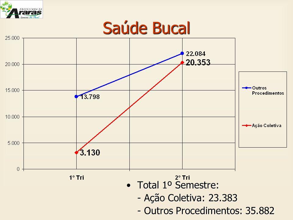 Saúde Bucal Total 1º Semestre:Total 1º Semestre: - Ação Coletiva: 23.383 - Outros Procedimentos: 35.882