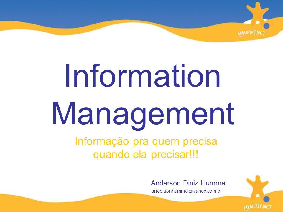 Informação pra quem precisa quando ela precisar!!! Information Management Anderson Diniz Hummel andersonhummel@yahoo.com.br