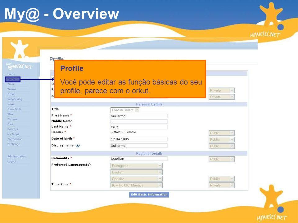 Profile Você pode editar as função básicas do seu profile, parece com o orkut. My@ - Overview