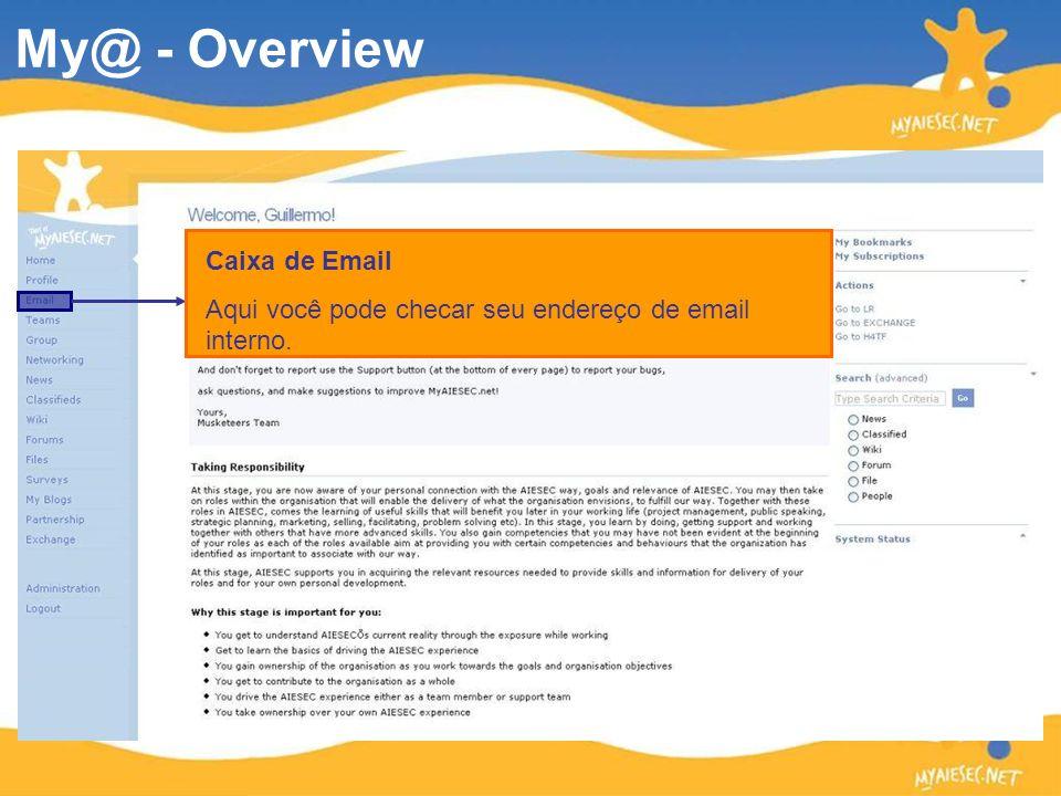 Caixa de Email Aqui você pode checar seu endereço de email interno. My@ - Overview