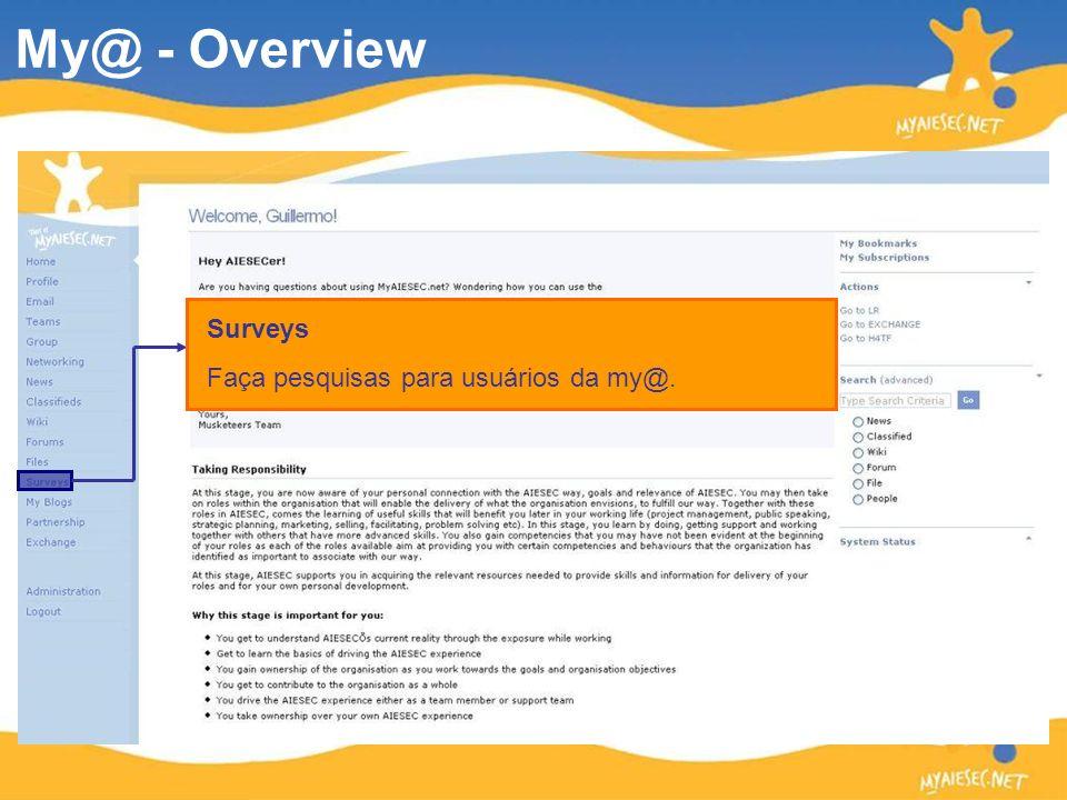 Surveys Faça pesquisas para usuários da my@. My@ - Overview