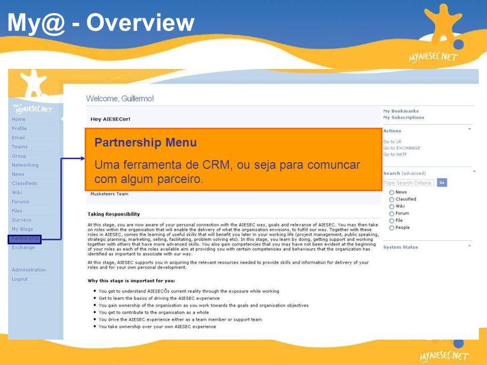 Partnership Menu Uma ferramenta de CRM, ou seja para comuncar com algum parceiro. My@ - Overview