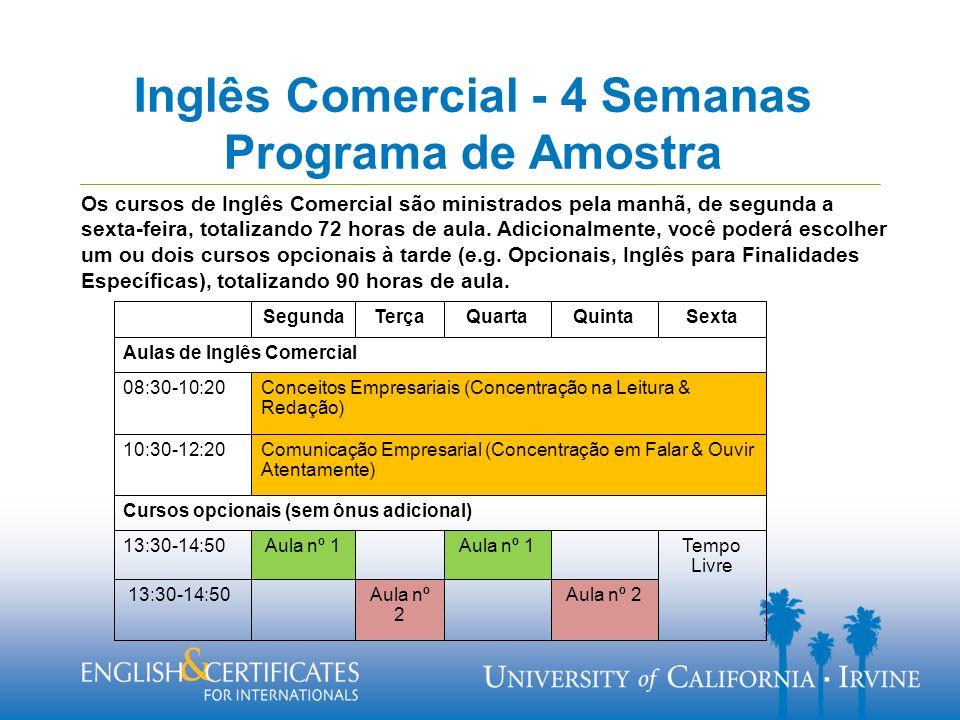 Inglês Comercial - 4 Semanas Programa de Amostra Os cursos de Inglês Comercial são ministrados pela manhã, de segunda a sexta-feira, totalizando 72 horas de aula.