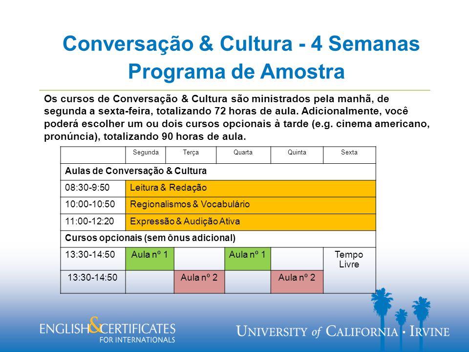 Programa de Amostra Os cursos de Conversação & Cultura são ministrados pela manhã, de segunda a sexta-feira, totalizando 72 horas de aula.