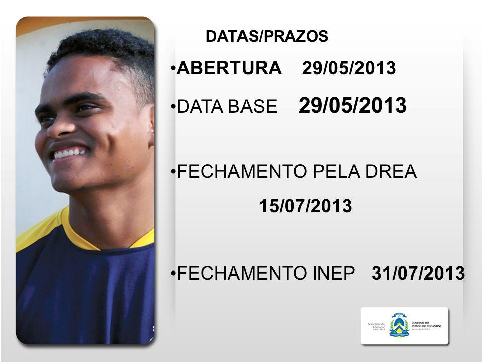 DATAS/PRAZOS ABERTURA 29/05/2013 DATA BASE 29/05/2013 FECHAMENTO PELA DREA 15/07/2013 FECHAMENTO INEP 31/07/2013