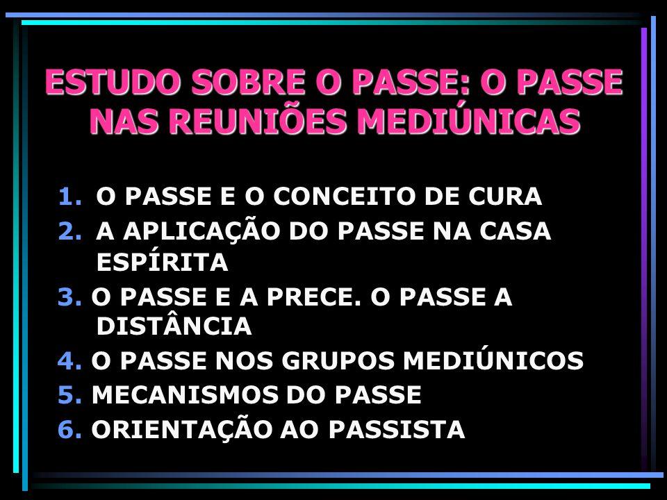 ESTUDO SOBRE O PASSE: O PASSE NAS REUNIÕES MEDIÚNICAS 1.O PASSE E O CONCEITO DE CURA 2.A APLICAÇÃO DO PASSE NA CASA ESPÍRITA 3.