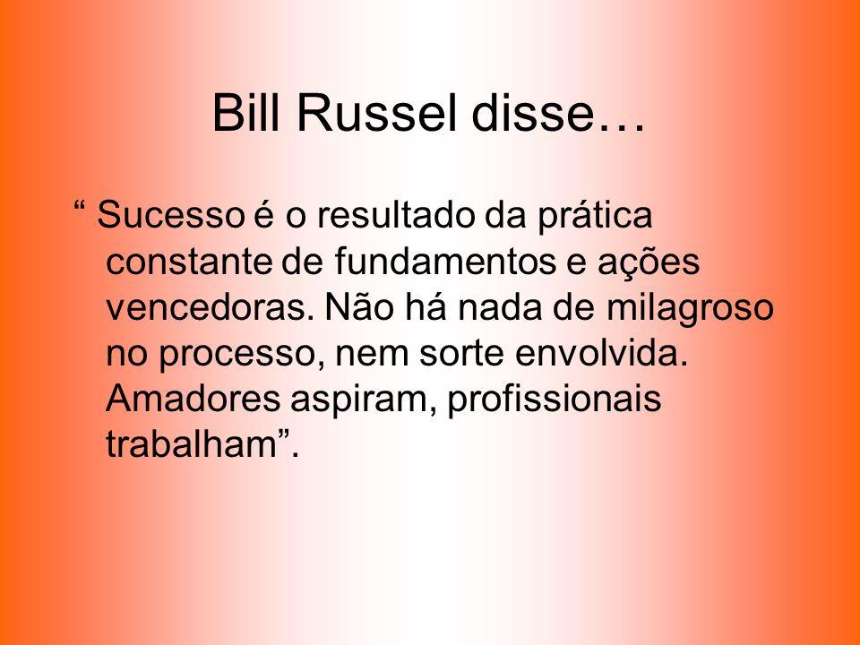 Bill Russel disse… Sucesso é o resultado da prática constante de fundamentos e ações vencedoras. Não há nada de milagroso no processo, nem sorte envol