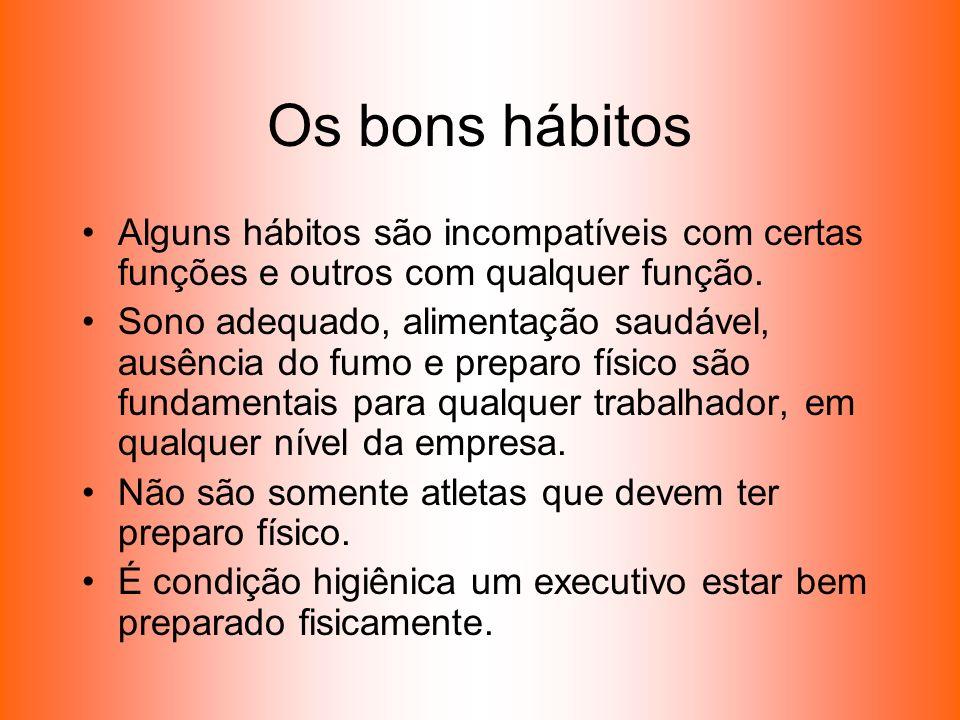 Os bons hábitos Alguns hábitos são incompatíveis com certas funções e outros com qualquer função. Sono adequado, alimentação saudável, ausência do fum