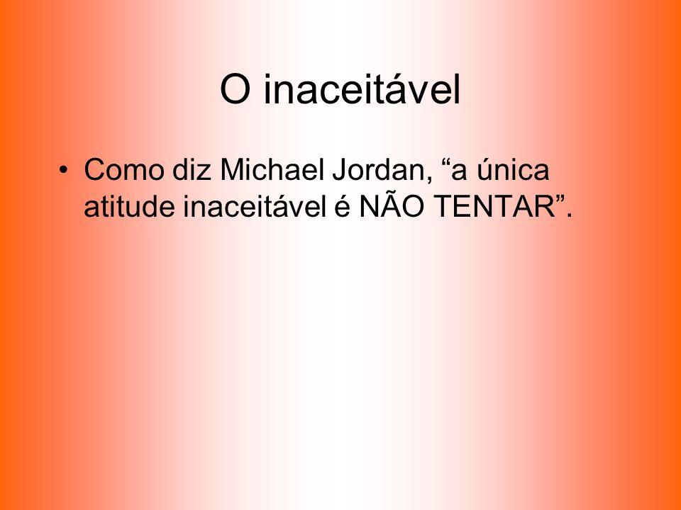 O inaceitável Como diz Michael Jordan, a única atitude inaceitável é NÃO TENTAR.