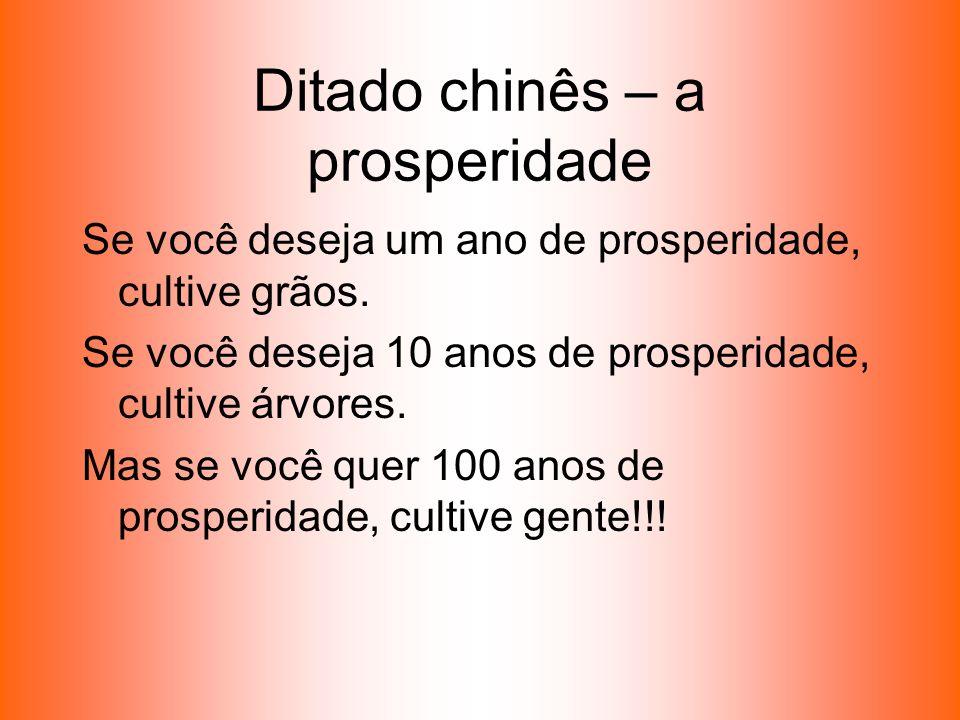 Ditado chinês – a prosperidade Se você deseja um ano de prosperidade, cultive grãos. Se você deseja 10 anos de prosperidade, cultive árvores. Mas se v