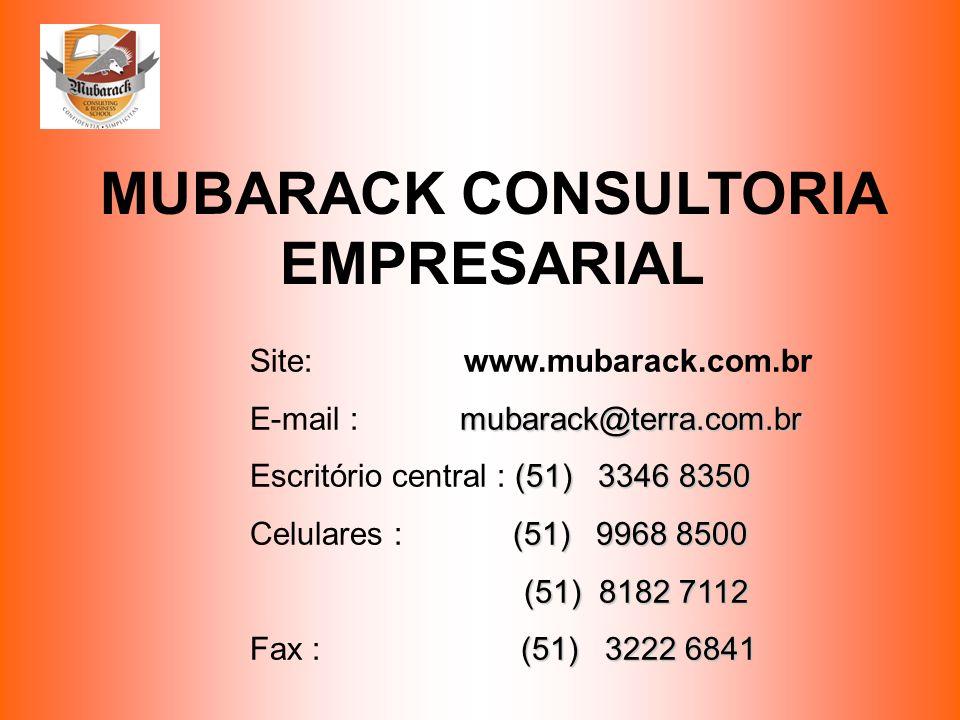 MUBARACK CONSULTORIA EMPRESARIAL Site: www.mubarack.com.br mubarack@terra.com.br E-mail : mubarack@terra.com.br (51) 3346 8350 Escritório central : (5