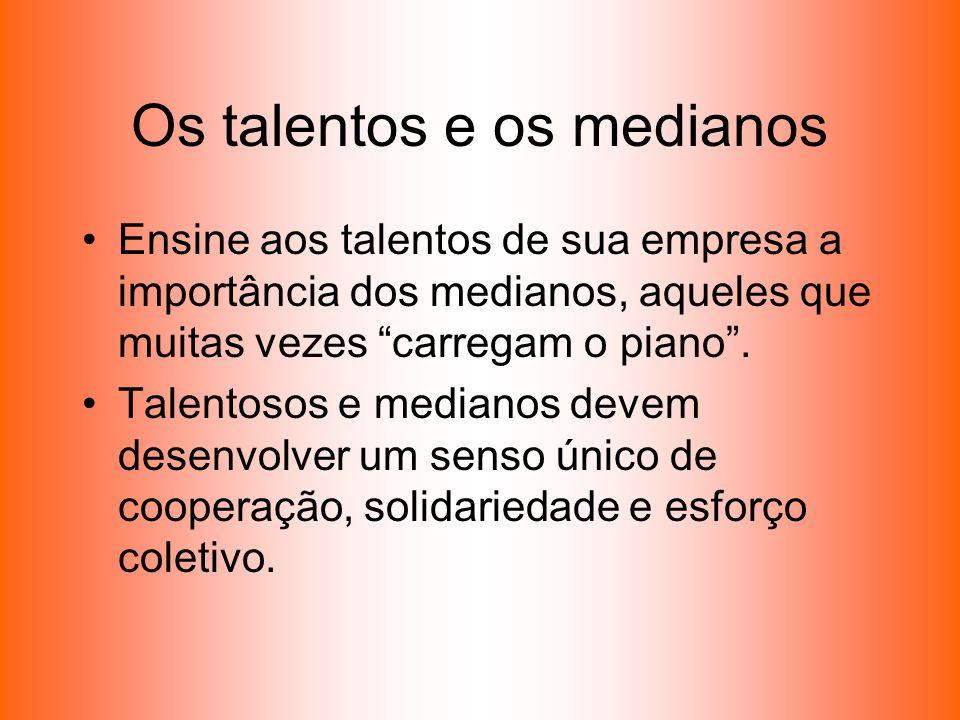 Os talentos e os medianos Ensine aos talentos de sua empresa a importância dos medianos, aqueles que muitas vezes carregam o piano. Talentosos e media