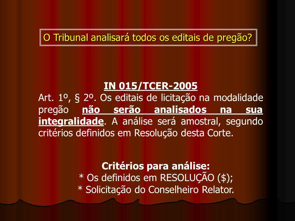 IN 015/TCER-2005 Art. 1º, § 2º. Os editais de licitação na modalidade pregão não serão analisados na sua integralidade. A análise será amostral, segun