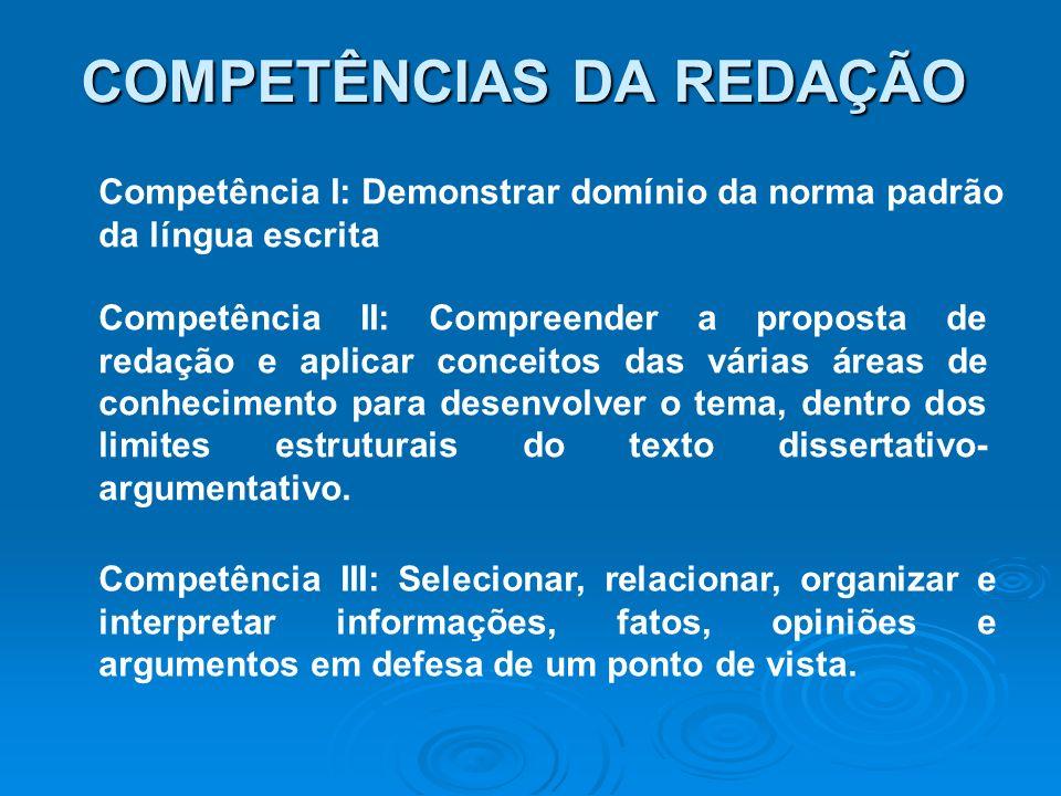 COMPETÊNCIAS DA REDAÇÃO Competência IV: Demonstrar conhecimento dos mecanismos linguísticos necessários para a construção da argumentação.