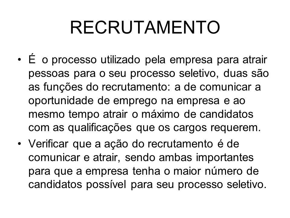 RECRUTAMENTO É o processo utilizado pela empresa para atrair pessoas para o seu processo seletivo, duas são as funções do recrutamento: a de comunicar