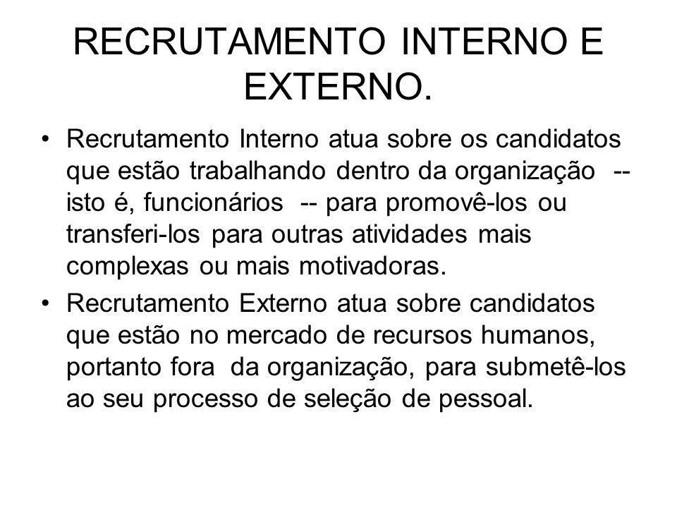 RECRUTAMENTO INTERNO E EXTERNO. Recrutamento Interno atua sobre os candidatos que estão trabalhando dentro da organização -- isto é, funcionários -- p