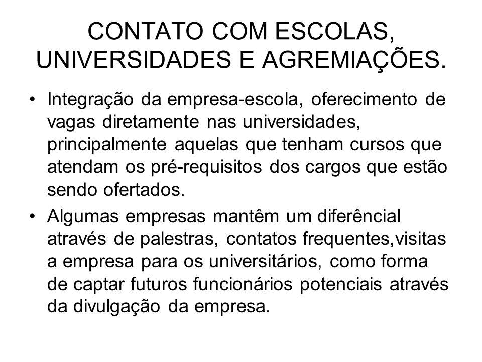 CONTATO COM ESCOLAS, UNIVERSIDADES E AGREMIAÇÕES. Integração da empresa-escola, oferecimento de vagas diretamente nas universidades, principalmente aq