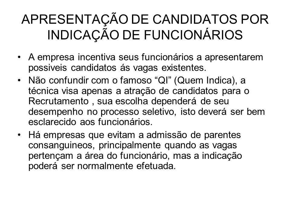 APRESENTAÇÃO DE CANDIDATOS POR INDICAÇÃO DE FUNCIONÁRIOS A empresa incentiva seus funcionários a apresentarem possiveis candidatos ás vagas existentes