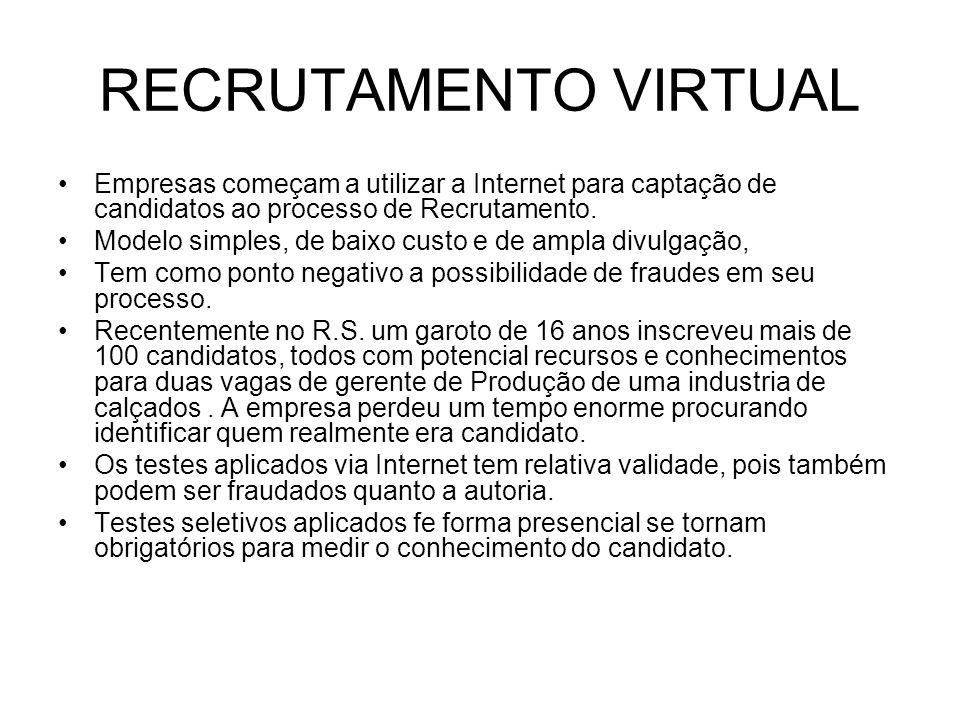 RECRUTAMENTO VIRTUAL Empresas começam a utilizar a Internet para captação de candidatos ao processo de Recrutamento. Modelo simples, de baixo custo e