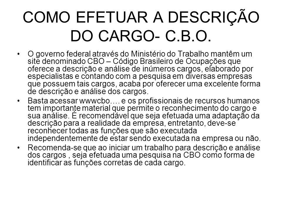 COMO EFETUAR A DESCRIÇÃO DO CARGO- C.B.O. O governo federal através do Ministério do Trabalho mantêm um site denominado CBO – Código Brasileiro de Ocu