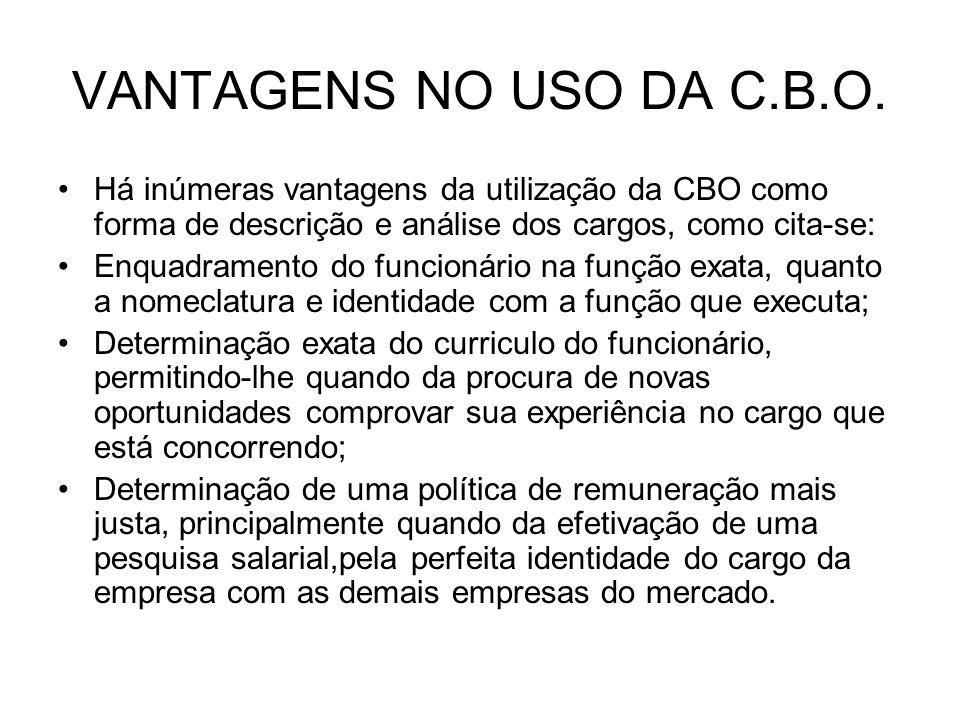 VANTAGENS NO USO DA C.B.O. Há inúmeras vantagens da utilização da CBO como forma de descrição e análise dos cargos, como cita-se: Enquadramento do fun