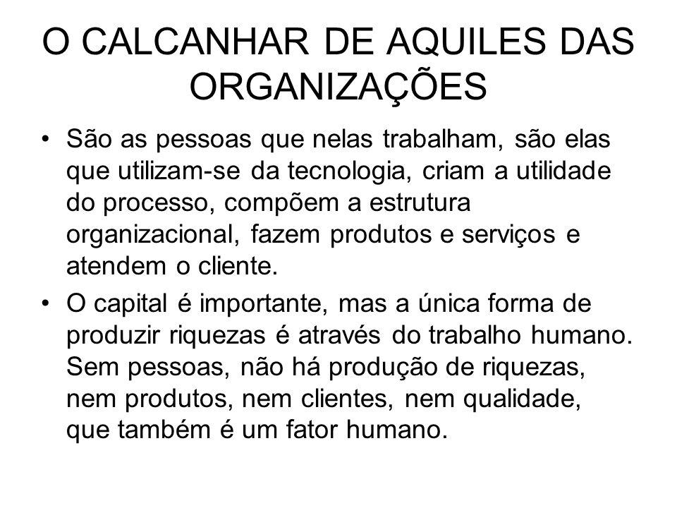 O CALCANHAR DE AQUILES DAS ORGANIZAÇÕES São as pessoas que nelas trabalham, são elas que utilizam-se da tecnologia, criam a utilidade do processo, com