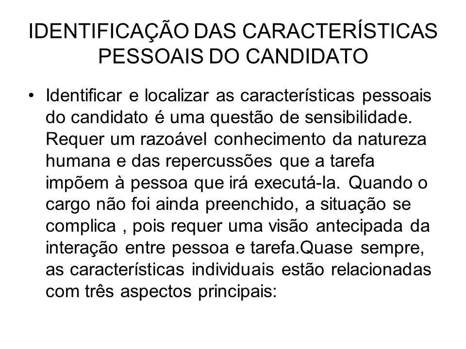IDENTIFICAÇÃO DAS CARACTERÍSTICAS PESSOAIS DO CANDIDATO Identificar e localizar as características pessoais do candidato é uma questão de sensibilidad