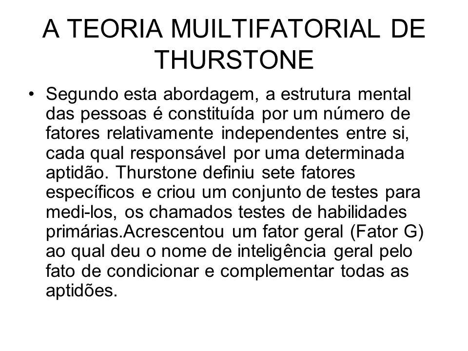 A TEORIA MUILTIFATORIAL DE THURSTONE Segundo esta abordagem, a estrutura mental das pessoas é constituída por um número de fatores relativamente indep