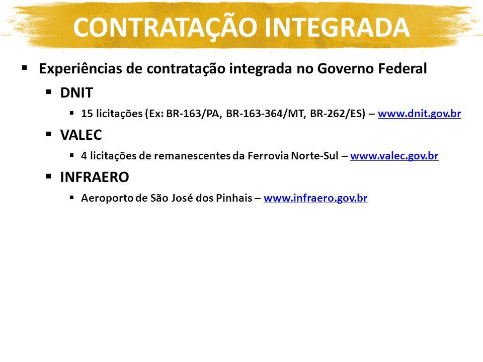 Experiências de contratação integrada no Governo Federal DNIT 15 licitações (Ex: BR-163/PA, BR-163-364/MT, BR-262/ES) – www.dnit.gov.brwww.dnit.gov.br