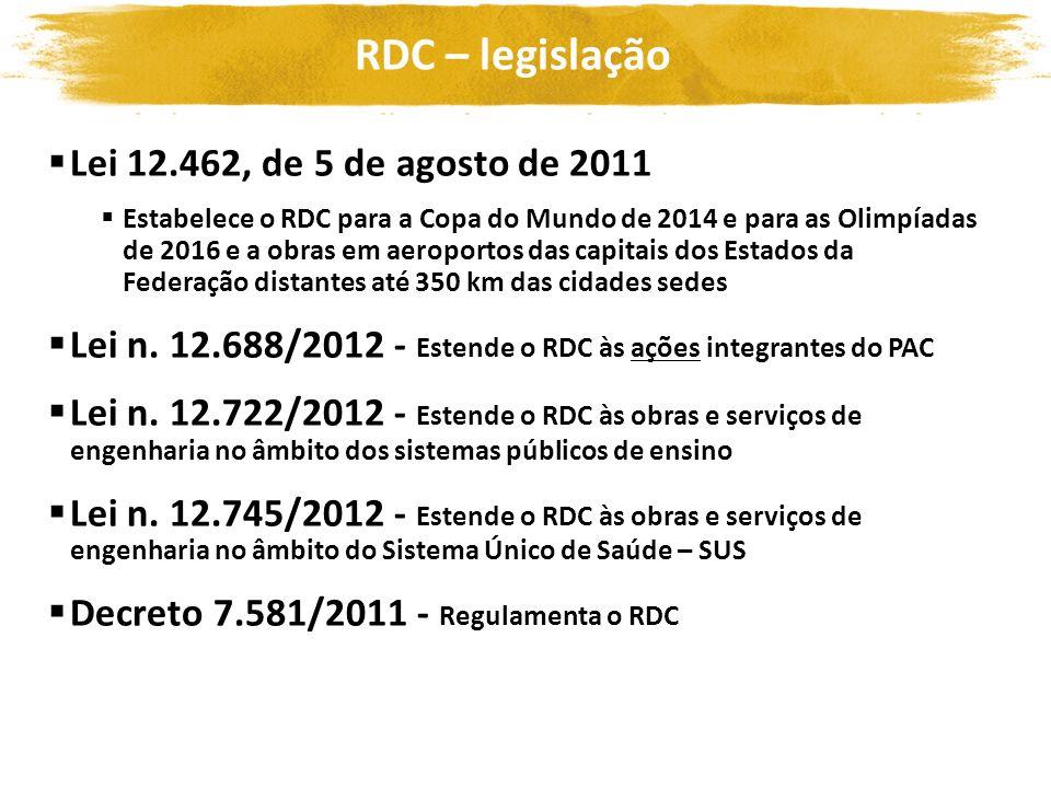 RDC – legislação Lei 12.462, de 5 de agosto de 2011 Estabelece o RDC para a Copa do Mundo de 2014 e para as Olimpíadas de 2016 e a obras em aeroportos