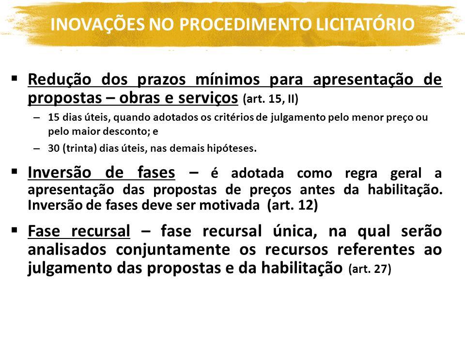 INOVAÇÕES NO PROCEDIMENTO LICITATÓRIO Redução dos prazos mínimos para apresentação de propostas – obras e serviços (art. 15, II) – 15 dias úteis, quan