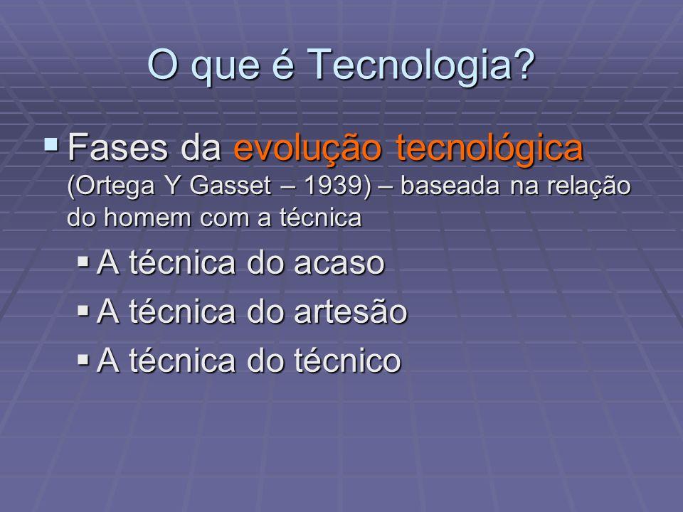 O que é Tecnologia? Fases da evolução tecnológica (Ortega Y Gasset – 1939) – baseada na relação do homem com a técnica Fases da evolução tecnológica (