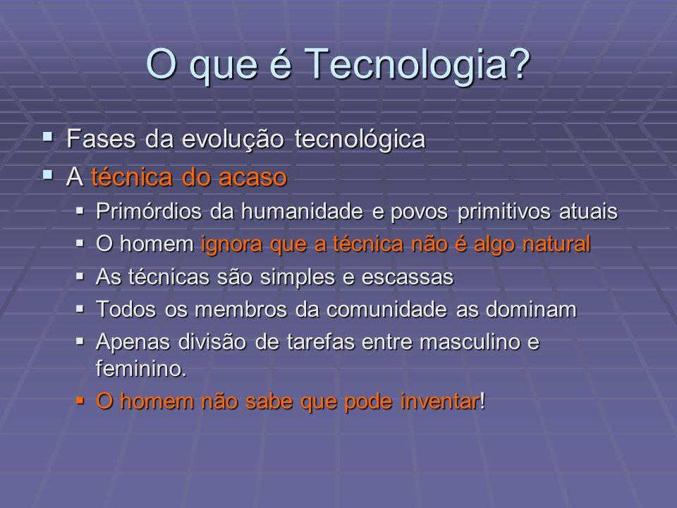 O que é Tecnologia? Fases da evolução tecnológica Fases da evolução tecnológica A técnica do acaso A técnica do acaso Primórdios da humanidade e povos