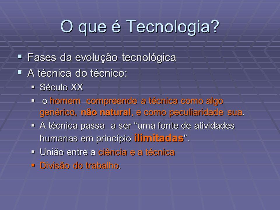 O que é Tecnologia? Fases da evolução tecnológica Fases da evolução tecnológica A técnica do técnico: A técnica do técnico: Século XX Século XX o home