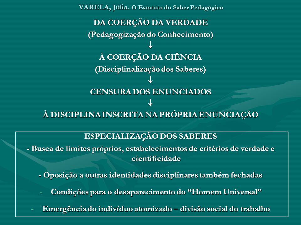 VARELA, Júlia. O Estatuto do Saber Pedagógico DA COERÇÃO DA VERDADE (Pedagogização do Conhecimento) À COERÇÃO DA CIÊNCIA (Disciplinalização dos Sabere