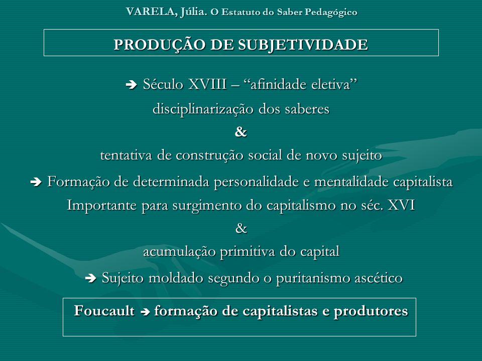 VARELA, Júlia. O Estatuto do Saber Pedagógico PRODUÇÃO DE SUBJETIVIDADE Século XVIII – afinidade eletiva Século XVIII – afinidade eletiva disciplinari