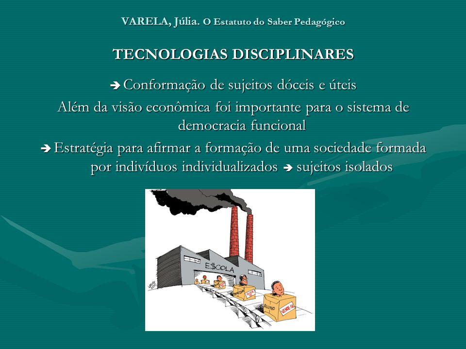 VARELA, Júlia. O Estatuto do Saber Pedagógico TECNOLOGIAS DISCIPLINARES Conformação de sujeitos dóceis e úteis Conformação de sujeitos dóceis e úteis