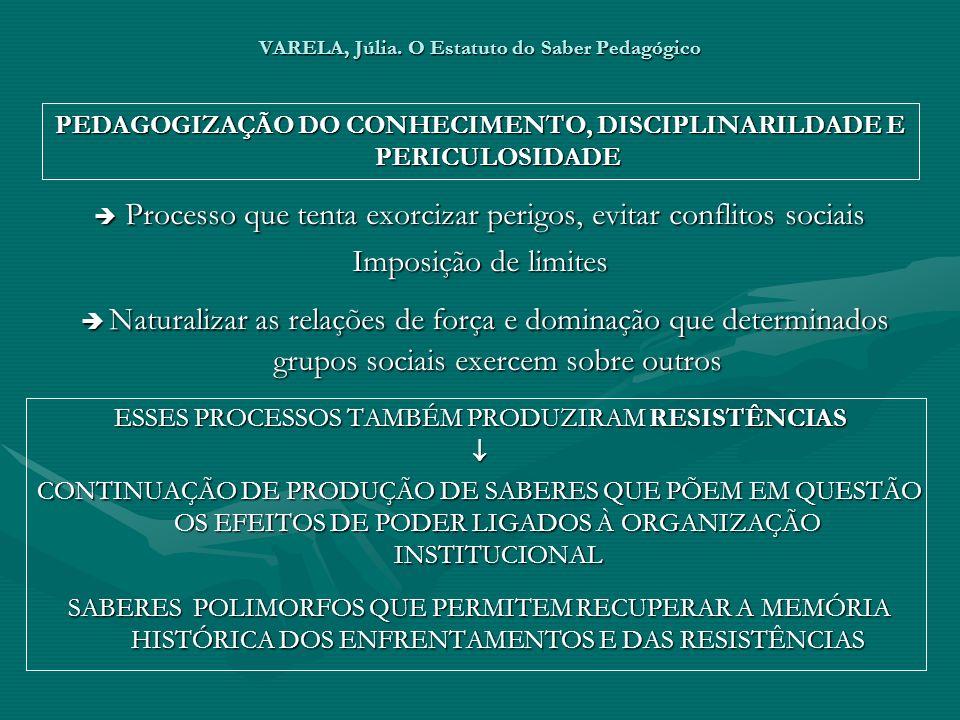 VARELA, Júlia. O Estatuto do Saber Pedagógico PEDAGOGIZAÇÃO DO CONHECIMENTO, DISCIPLINARILDADE E PERICULOSIDADE Processo que tenta exorcizar perigos,