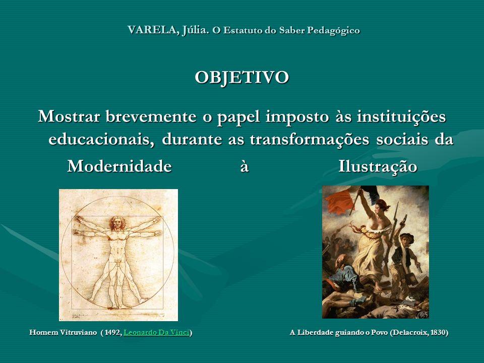 VARELA, Júlia. O Estatuto do Saber Pedagógico OBJETIVO Mostrar brevemente o papel imposto às instituições educacionais, durante as transformações soci