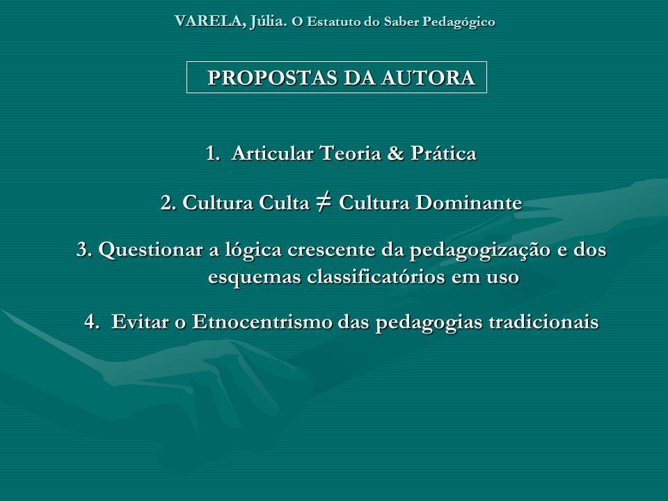 VARELA, Júlia. O Estatuto do Saber Pedagógico PROPOSTAS DA AUTORA 1. Articular Teoria & Prática 2. Cultura Culta Cultura Dominante 3. Questionar a lóg