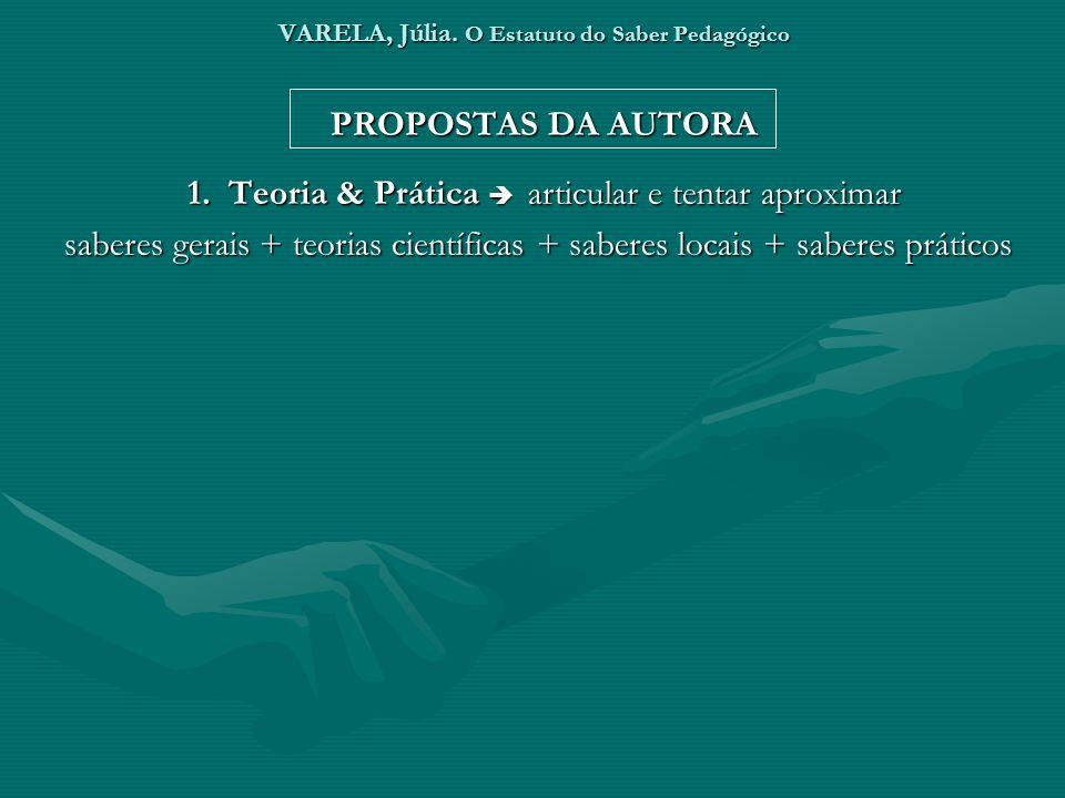 VARELA, Júlia. O Estatuto do Saber Pedagógico PROPOSTAS DA AUTORA 1. Teoria & Prática articular e tentar aproximar saberes gerais + teorias científica