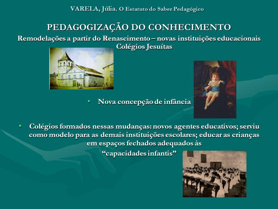 VARELA, Júlia. O Estatuto do Saber Pedagógico PEDAGOGIZAÇÃO DO CONHECIMENTO Remodelações a partir do Renascimento – novas instituições educacionais Co