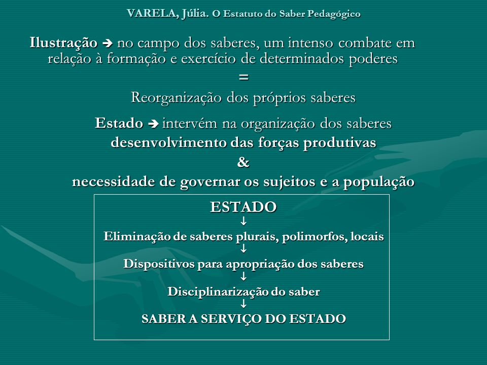 VARELA, Júlia. O Estatuto do Saber Pedagógico Ilustração no campo dos saberes, um intenso combate em relação à formação e exercício de determinados po