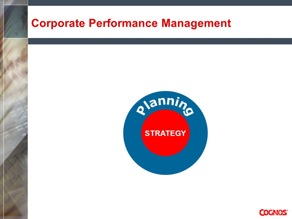 Cognos CPM Solution Components ENTERPRISE BUSINESS INTELLIGENCE QUERY ANALYSIS DASHBOARDING EVENT MANAGEMENT ENTERPRISE PLANNING MODELING & TARGET SETTING BUDGETING/FORECASTING FINANCIAL REPORTING CONSOLIDATION PLANNING CPM FOUNDATION BI APPS CRMSALESFINANCESCMOTHER METRICS MANAGEMENT ENTERPRISE SCORECARDING REPORTING