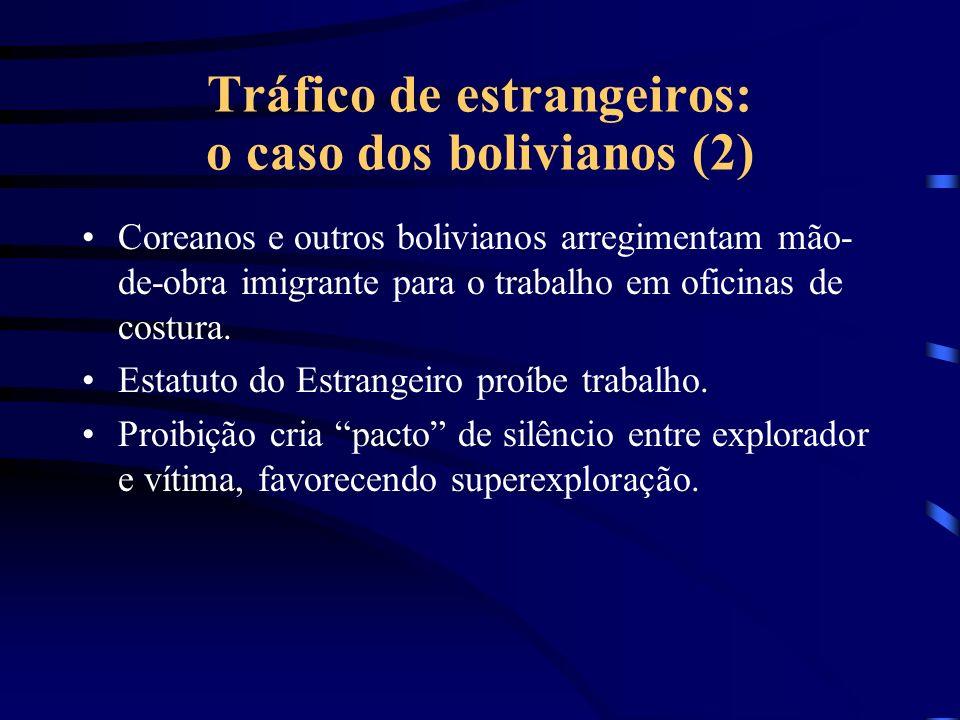 Tráfico de estrangeiros: o caso dos bolivianos (1) Na Bolívia, traficantes de seres humanos arregimentam trabalhadores com promessas de bons salários no Brasil; Imigrantes pagam passagem e despesas para traficante.