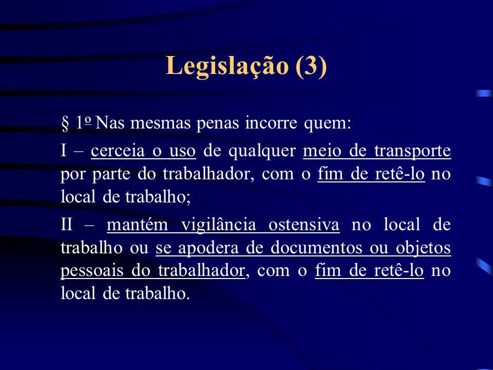 Legislação (2) Nova redação do artigo 149 do CP (Lei 10.803/03): Reduzir alguém a condição análoga à de escravo, quer submetendo-o a trabalhos forçados ou a jornada exaustiva, quer sujeitando-o a condições degradantes de trabalho, quer restringindo, por qualquer meio, sua locomoção em razão de dívida contraída com o empregador ou preposto.