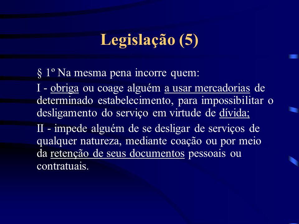 Legislação (4) Frustração de direito assegurado por lei trabalhista Art.