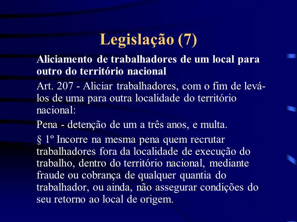 Legislação (6) Aliciamento para o fim de emigração Art.